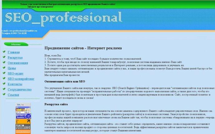 Раскрутка сайтов и продвижение сайта в поисковых системах